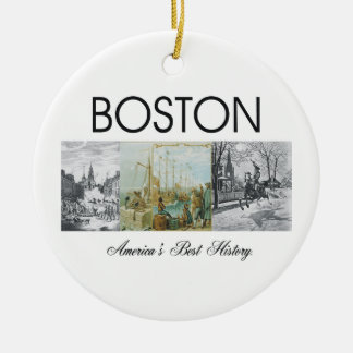 ABH Boston Double-Sided Ceramic Round Christmas Ornament