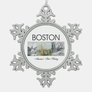 ABH Boston Snowflake Pewter Christmas Ornament