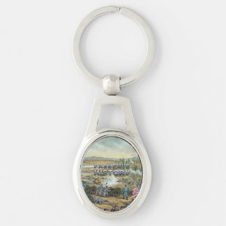 ABH Civil War Battlefield Preservation Silver-Colored Oval Metal Keychain