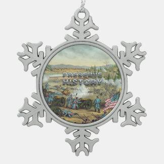 ABH Civil War Battlefield Preservation Snowflake Pewter Christmas Ornament
