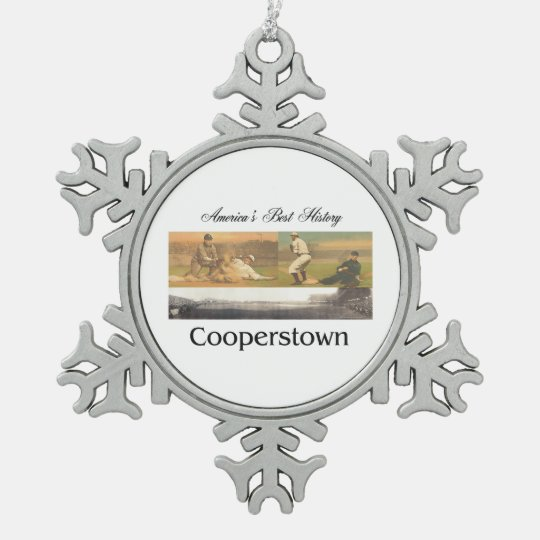ABH Cooperstown Snowflake Pewter Christmas Ornament