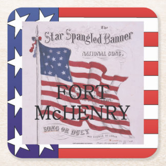 ABH Fort McHenry Square Paper Coaster