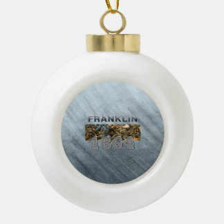 ABH Franklin Ceramic Ball Christmas Ornament