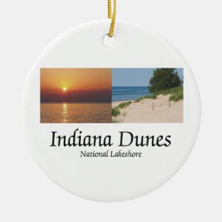ABH Indiana Dunes Double-Sided Ceramic Round Christmas Ornament
