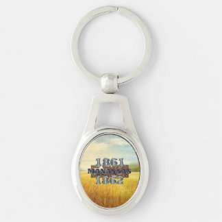 ABH Manassas Silver-Colored Oval Metal Keychain
