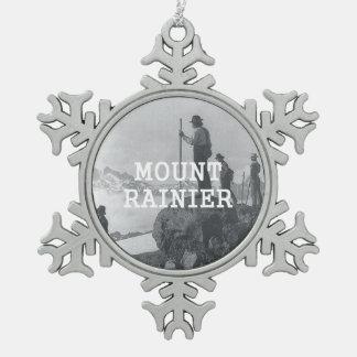 ABH Mount Rainier Snowflake Pewter Christmas Ornament