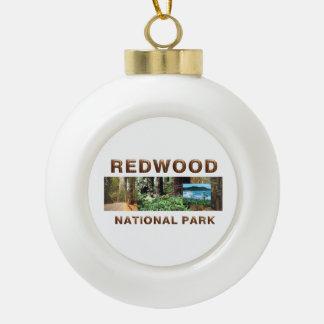 ABH Redwood Ceramic Ball Christmas Ornament