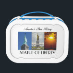 """ABH Statue of Liberty Lunch Box<br><div class=""""desc"""">Statue of Liberty t-shirts,  stationary,  flyers,  iPAD cases,  and other gifts. Bright,  colorful,  and great for the american history fan,  tourist on vacation,  or immigration and liberty buff.</div>"""
