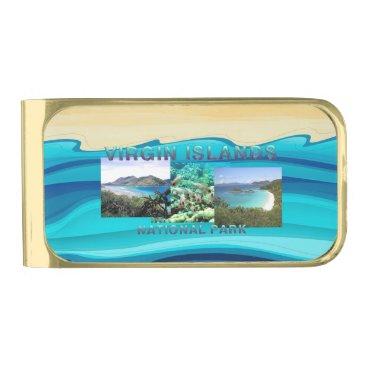 Beach Themed ABH Virgin Islands Gold Finish Money Clip