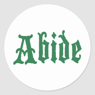 Abide (the green edtion) classic round sticker