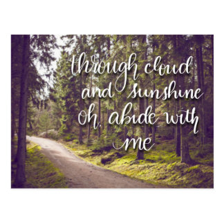 Abide With Me Hymn Hand Lettered Postcard