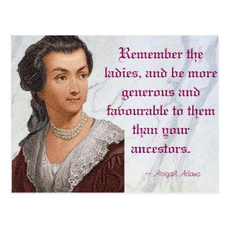Abigail Adams - recuerde a las señoras Postales