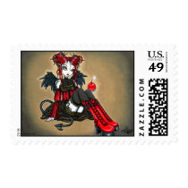 abigail, devil, angel, cherry, bomb, faerie, gothic, goth, red, leopard, print, boots, cute, big, eyed, myka, jelina, fantasy, art, mika, angels, Stamp with custom graphic design