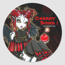 abigail, devil, angel, cherrybomb, faerie, gothic, goth, red, leopard, print, boots, cute, big, eyed, myka, jelina, fantasy, art, mika, angels, Sticker with custom graphic design