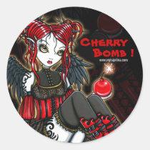 abigail, devil, angel, cherrybomb, faerie, gothic, goth, red, leopard, print, boots, cute, big, eyed, myka, jelina, fantasy, art, mika, angels, Sticker with custom graphic design