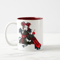 abigail, devil, angel, cherry, bomb, faerie, gothic, goth, red, leopard, print, boots, cute, big, eyed, myka, jelina, fantasy, art, mika, angels, Mug with custom graphic design