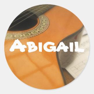 Abigail guitar name label classic round sticker