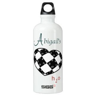 Abigail Personalized H2O B&W Heart SIGG Traveler 0.6L Water Bottle