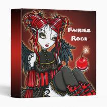 abigail, fairy, gothic, faery, red, rock, fire, hot, goth, dark, angel, fantasy, art, myka, jelina, faerie, fae, Fichário com design gráfico personalizado
