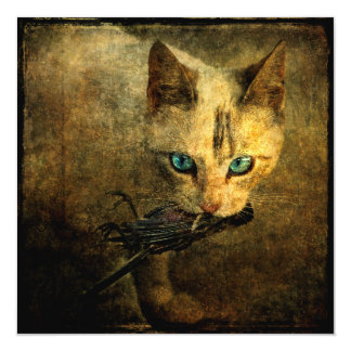 """Abigail with prey blue eyes cat square card 5.25"""" square invitation card"""