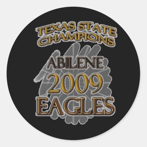 Abilene High School Eagles 2009 Texas Champions! Classic Round Sticker
