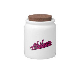 Abilene in magenta candy jars