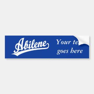 Abilene script logo in white bumper sticker