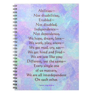 Abilities Not Disabilities Poem 80 page Notebook