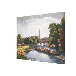 Abingdon Bridge and Church, engraved by Robert Hav Canvas Print