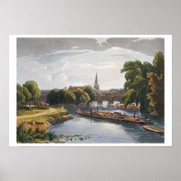 Abingdon Bridge and Church, engraved by Robert Hav Poster