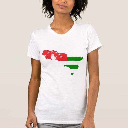 Abjasia señala el mapa por medio de una bandera de camiseta