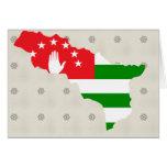 Abjasia señala el mapa por medio de una bandera de felicitaciones