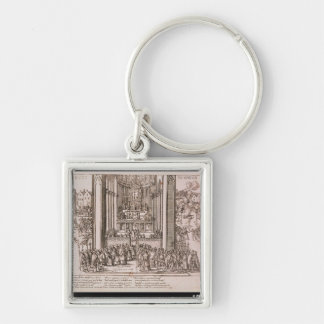 Abjuration of Henri IV Silver-Colored Square Keychain