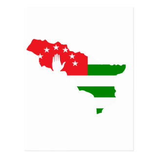 Abkhazia flag map postcard