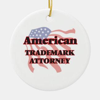 Abogado americano de la marca registrada adorno navideño redondo de cerámica