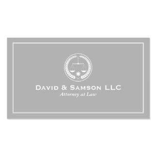 Abogado clásico blanco y gris 2a en la ley tarjetas de visita