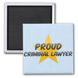 Abogado criminal orgulloso imán cuadrado