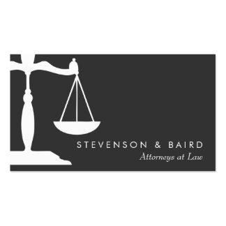 Abogado de la escala de la justicia blanco y negro tarjetas de visita