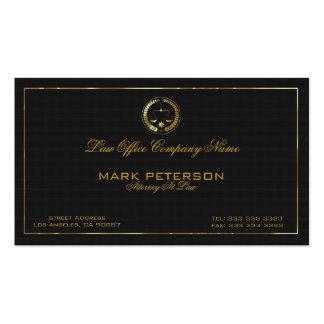 Abogado de lino negro simple de la textura en ley tarjetas de visita