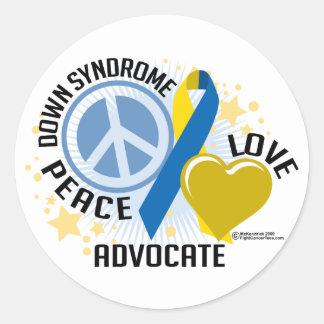 Abogado del amor de la paz de Síndrome de Down Pegatina Redonda