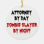 Abogado del asesino del zombi del día por noche adornos de navidad