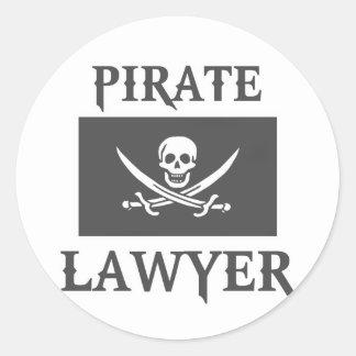 Abogado del pirata pegatina redonda