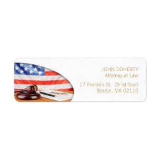 Abogado en la etiqueta del abogado de la ley el | etiqueta de remite