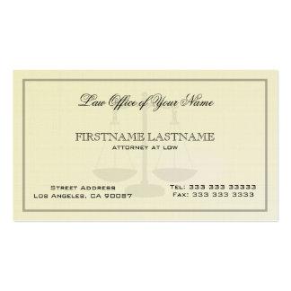 Abogado en la textura de lino simple de la asesorí tarjetas de visita
