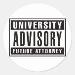 Abogado futuro consultivo de la universidad pegatinas redondas