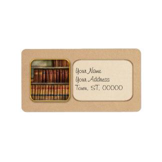 Abogado - libros - libros de ley etiqueta de dirección