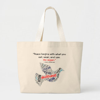 """""""Abolitionist Vegan"""" Word-Cloud Dove & Quote Large Tote Bag"""