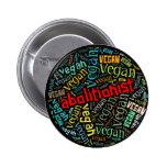 """""""Abolitionist Vegan"""" Word-Cloud Mosaic 2 Inch Round Button"""