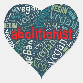"""Abolitionist Vegan"" Word-Cloud Mosaic Heart Sticker"