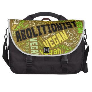 """Abolitionist Vegan"" Word-Cloud Mosaic Bag For Laptop"